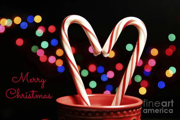 Candy Cane Heart Card Art Print