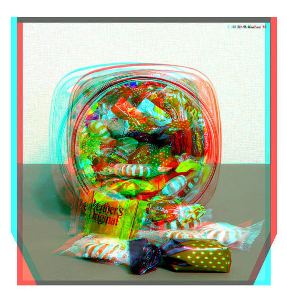 Anaglyph Photograph - Candy Jar - Use Red-cyan Filtered 3d Glasses by Brian Wallace