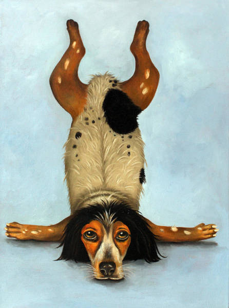 Guru Painting - Canine Contortionist by Leah Saulnier The Painting Maniac