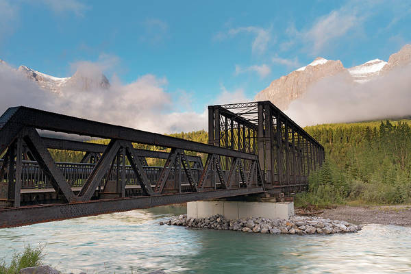 Canmore Photograph - Canmore Engine Bridge On Bow River by Panoramic Images