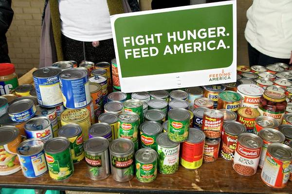 Us Bank Photograph - Canned Goods For Food Banks by Jim West