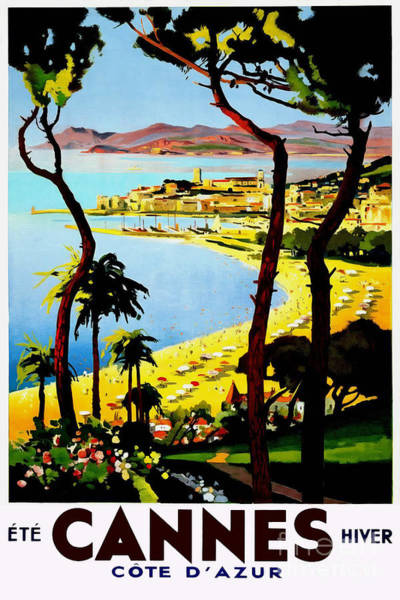 French Riviera Photograph - Cannes Vintage Travel Poster by Jon Neidert