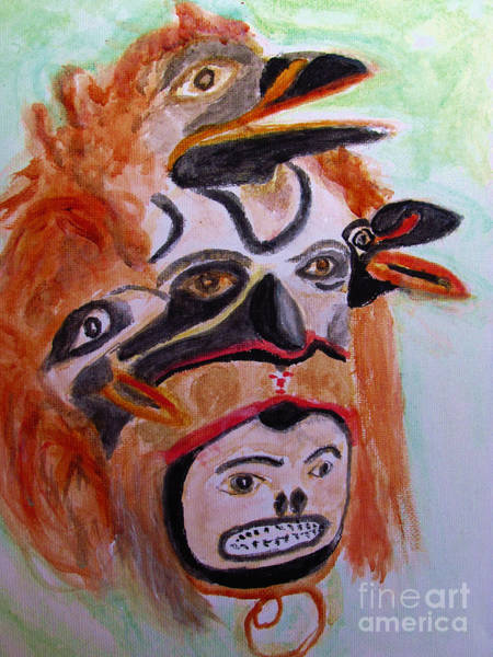 Painting - Cannibal Indian Mask by Stanley Morganstein