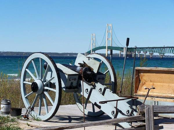 Michilimackinac Wall Art - Photograph - Cannon And Bridge by Keith Stokes