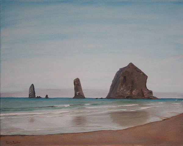 Cannon Beach Painting - Cannon Beach Haystack Rock by Ian Donley