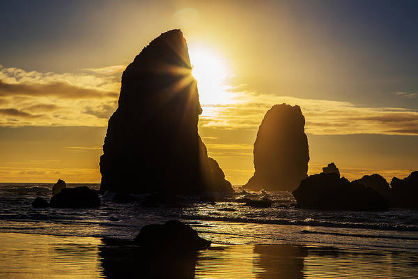 Wall Art - Photograph - Cannon Beach Sunburst by Angie Vogel