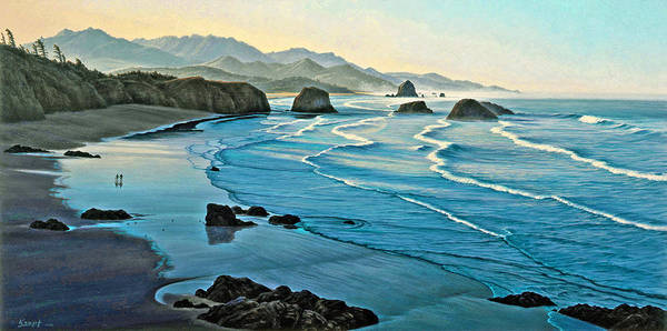 Oregon Coast Wall Art - Painting - Cannon Beachcombers by Paul Krapf