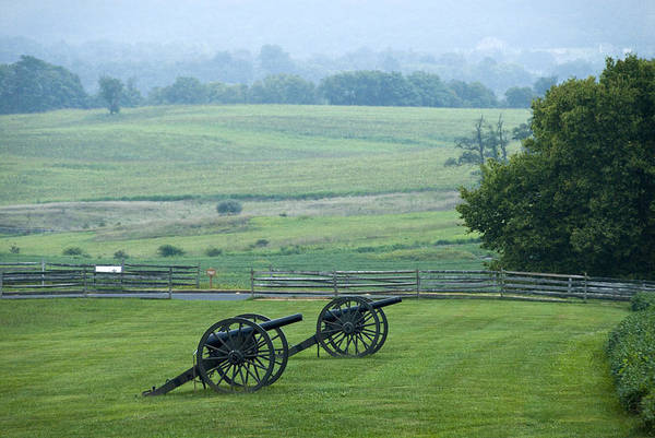 Sharpsburg Photograph - Cannon, Misty Morning, Antietam Nat by Dennis K. Johnson