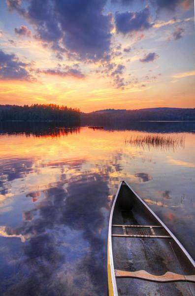 Canoe Photograph - Canoe And Kayak In Mountain Lake At by Matt Champlin