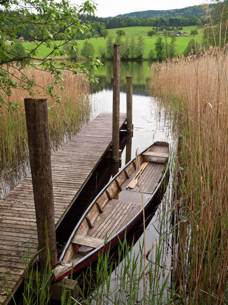 Canoe Photograph - Canoe At Pond Jetty by Steve Waters