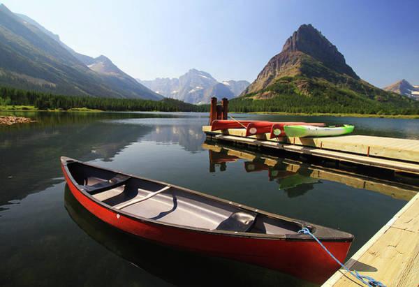 Canoe Photograph - Canoe At St Mary Lake In Glacier by L. Toshio Kishiyama