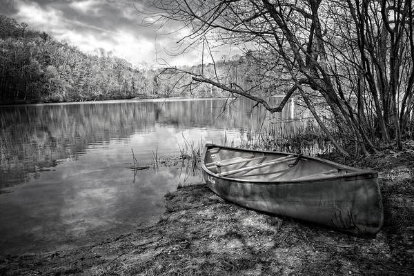 Ocoee Wall Art - Photograph - Canoe At The Lake Black And White by Debra and Dave Vanderlaan