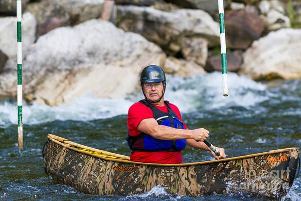 Photograph - Canoe Below A Slalom Gate by Les Palenik