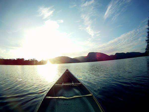 Canoe Photograph - Canoe In Sunset by Torfinn