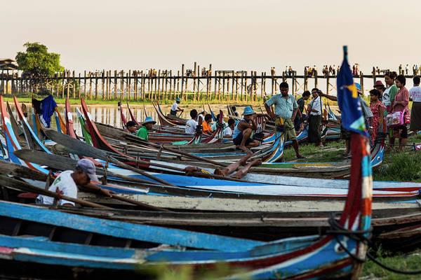 Canoe Photograph - Canoe Station At U Bein Bridge by Merten Snijders