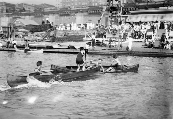 Photograph - Canoe Tilting, C1910 by Granger