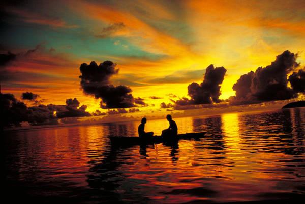 Wall Art - Photograph - Canoeing In A Polynesian Lagoon by Robert Hernandez
