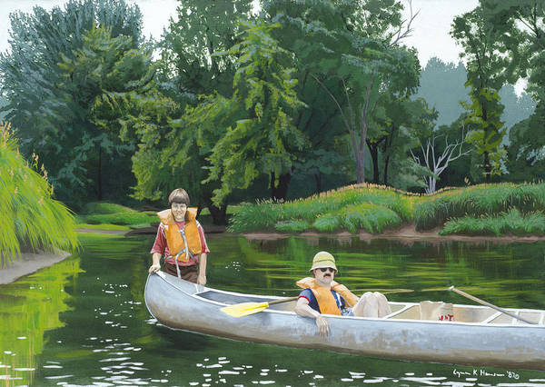 Painting - Canoeing With Dad by Lynn Hansen
