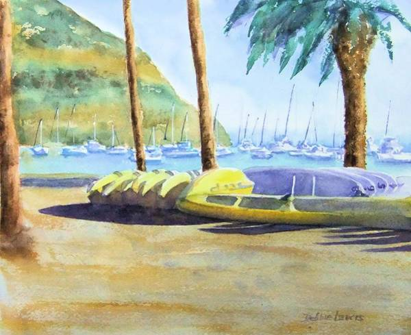 Painting - Canoes And Surfboards In The Morning Light - Catalina by Debbie Lewis