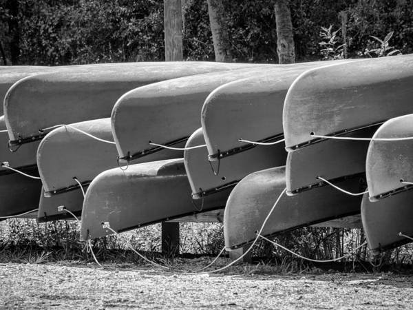 Photograph - Canoes Bw by Carolyn Marshall