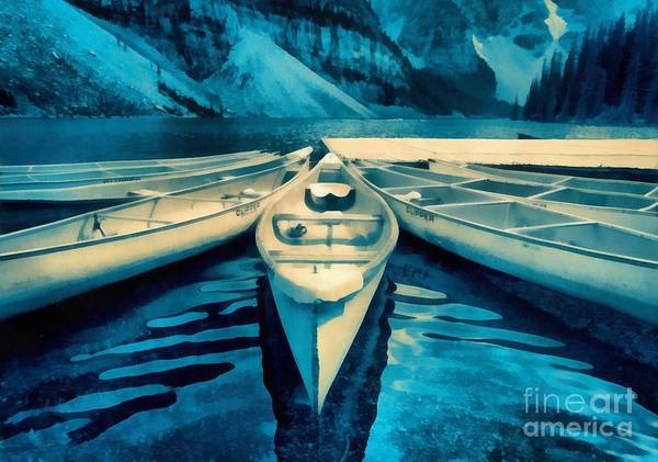 Moraine Lake Photograph - Canoes by Edward Fielding