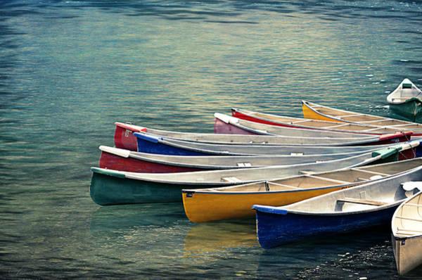 Rockies Digital Art - Canoes  by Maria Angelica Maira