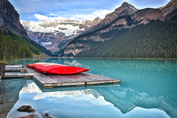 Alberta Wall Art - Photograph - Canoes Of Lake Louise Alberta Canada by George Oze