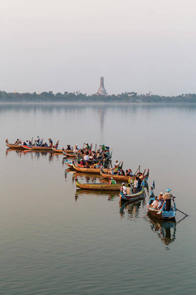 Canoe Photograph - Canoes On Taungthaman Lake by Merten Snijders