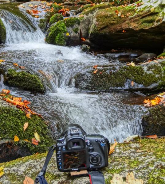 Shutter Speed Photograph - Waterfall And Camera by Dan Sproul
