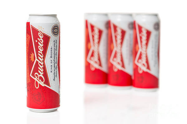 Tin Can Wall Art - Photograph - Cans Of Budweiser Beer by Amanda Elwell