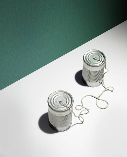 Tin Can Wall Art - Photograph - Cans With String by Tamara Staples