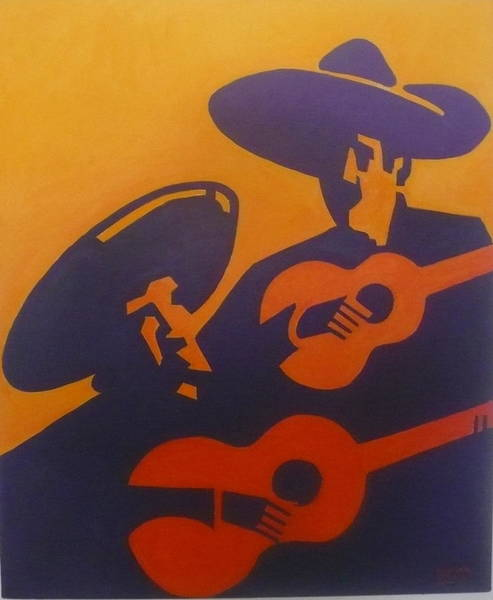 Mexican Guitar Player Painting - Cantante by Michael Carlyle