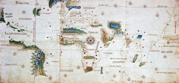 Wall Art - Painting - Cantino World Map, 1502 by Granger