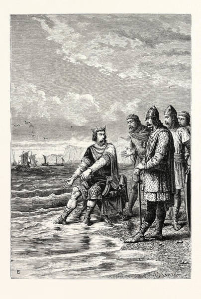 Courtiers Drawing - Canute Rebukes The Flattery Of His Courtiers by English School