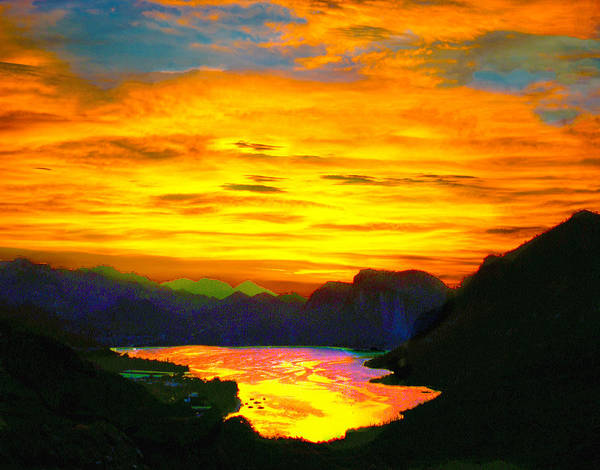 Digital Art - Canyon Lake Arizona Sunset Painting by Bob and Nadine Johnston