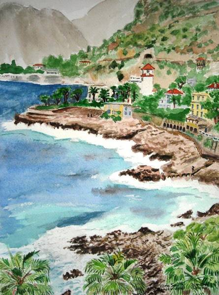 Painting - Cap D'ail On A Rainy Day by Vera  Smith
