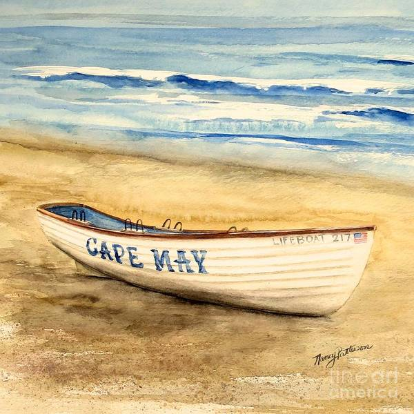 Cape May Painting - Cape May Lifeguard Boat - 2 by Nancy Patterson
