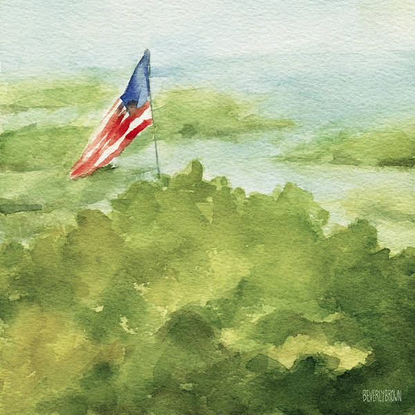 Watercolor Painting - Cape Cod Beach With American Flag Painting by Beverly Brown