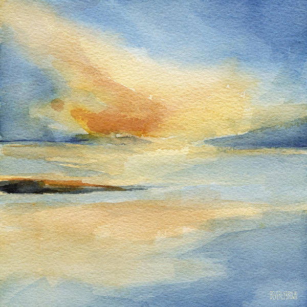 Watercolor Painting - Cape Cod Sunset Seascape Painting by Beverly Brown