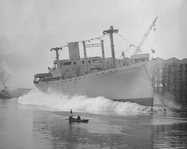 Comfort Photograph - Cape Comfort Cargo Ship Launch by Hagley Museum And Archive