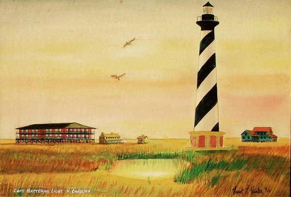 Painting - Cape Hatteras Light At Sunset by Frank Hunter