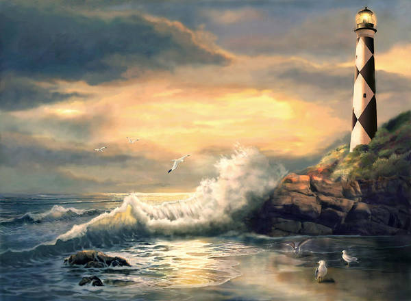 Gina Femrite Wall Art - Painting - Twindeling Light Cape Lookout Lighthouse North Carolina At Sunset  by Regina Femrite
