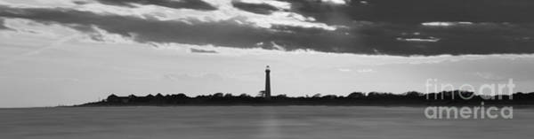 Cape May Lighthouse Photograph - Cape May Lighthouse Sunset Panorama Bw by Michael Ver Sprill