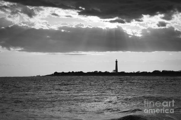 Cape May Lighthouse Photograph - Cape May Sun Rays Bw by Michael Ver Sprill