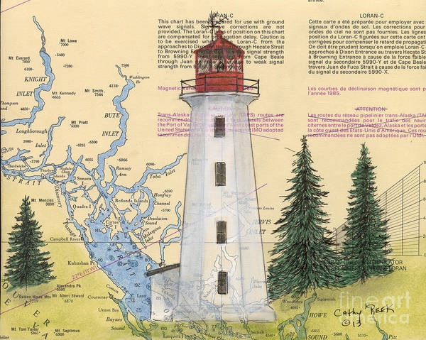Cathy Painting - Cape Mudge Lighthouse Bc Canada Nautical Chart Map Art by Cathy Peek