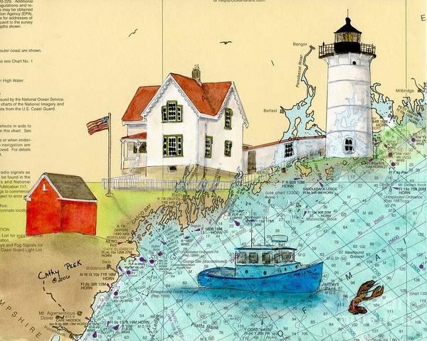 Wall Art - Painting - Cape Neddick Lighthouse Me Nautical Chart Map Art Cathy Peek by Cathy Peek