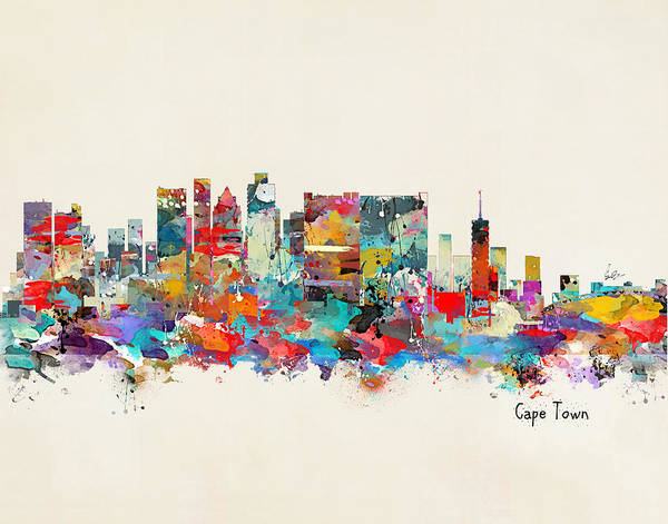 Town Wall Art - Painting - Cape Town South Africa Skyline by Bri Buckley
