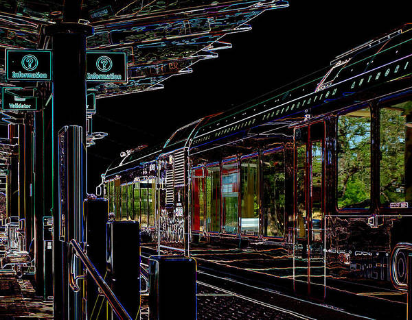 Photograph - Capital Metro Rail In Neon by James Granberry