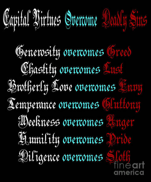 Brotherly Love Digital Art - Capital Virtues Overcome Deadly Sins by Barbara Griffin