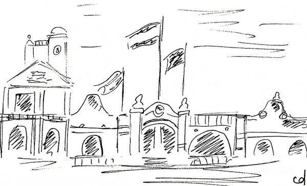 Drawing - Capitania Puerto Marina In Benalmadena by Chani Demuijlder